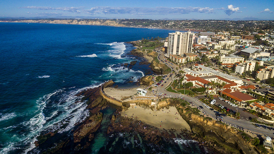 Aerial image of San Diego beach