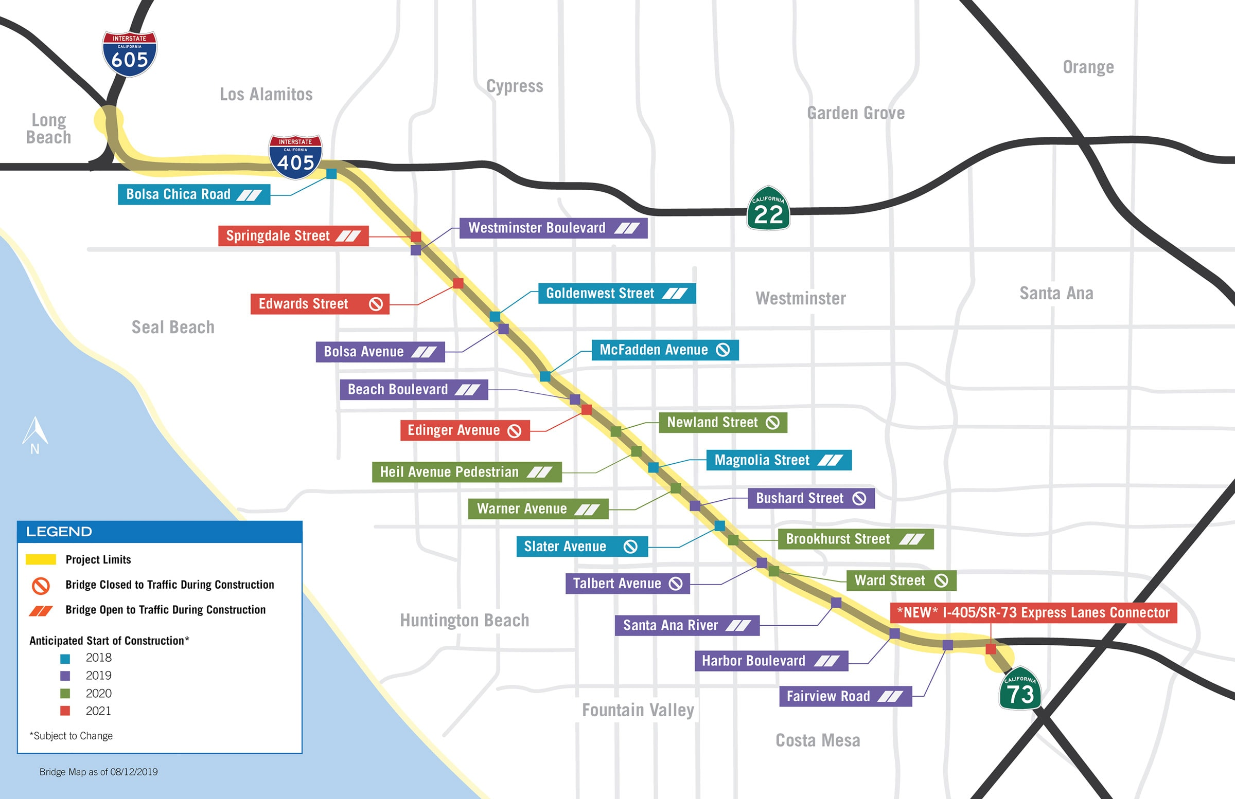 I-405 improvement bridge construction map