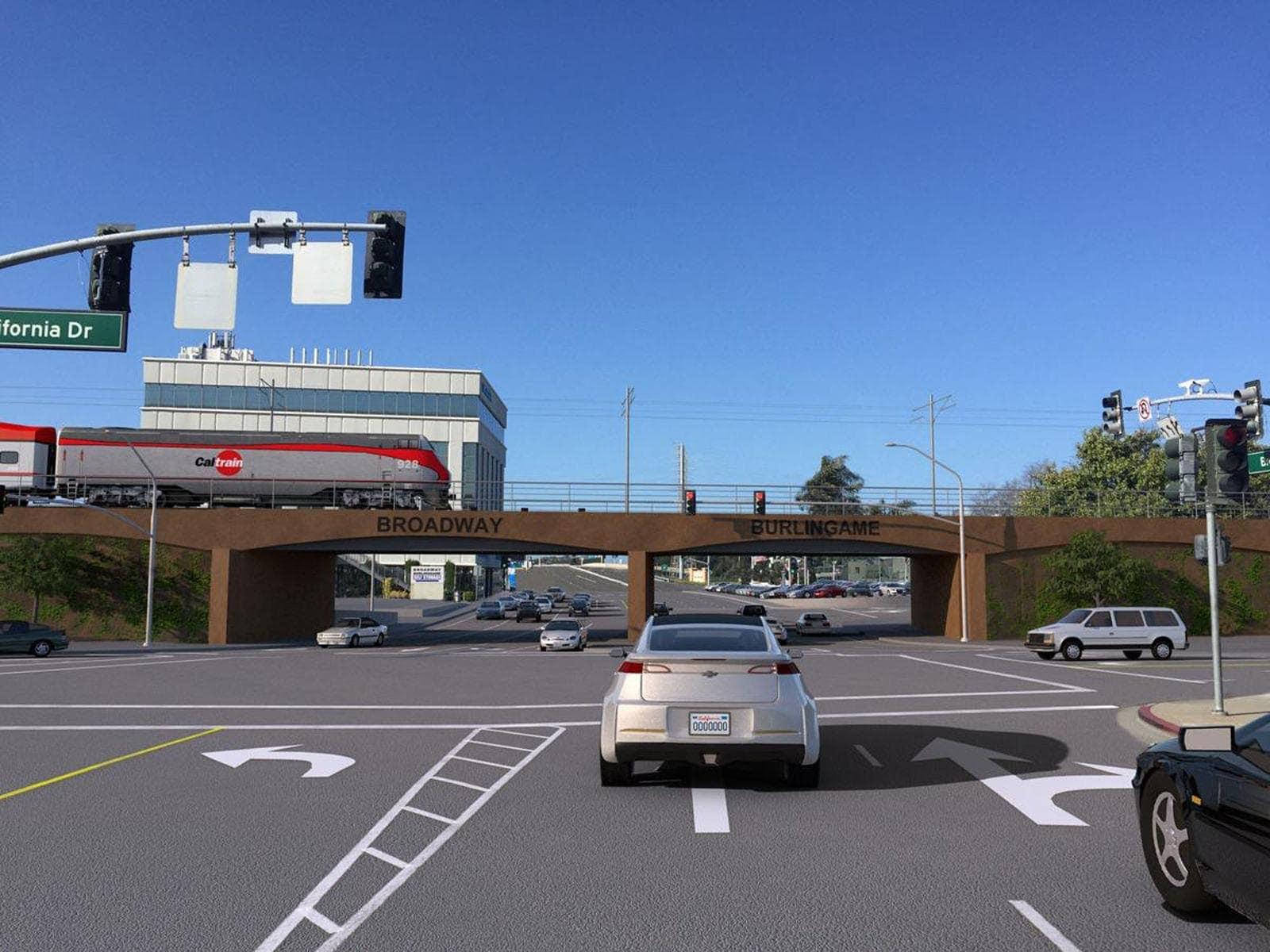 Caltrain Burlingame grade separation mockup