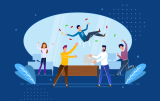Graphic of employees celebrating