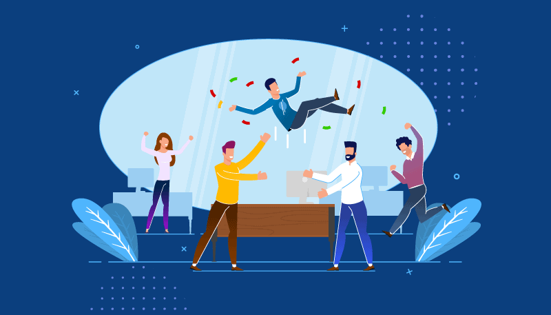 Graphic of employees celebrating
