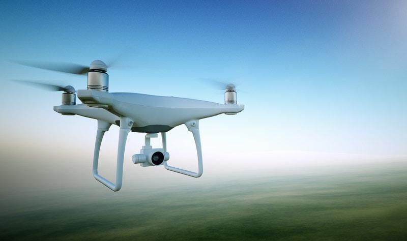 Drone surveying land